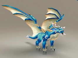 Blue Dragon Character 3d preview