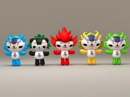 Fuwa Beijing 2008 Olympics Mascots 3d preview