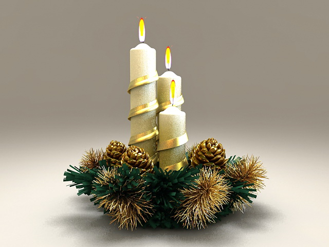 Beautiful Christmas Candles 3d rendering