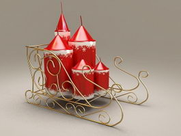 Christmas Candles with Rack 3d model preview
