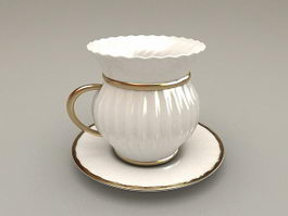 Vintage Cup and Saucer Set 3d model preview