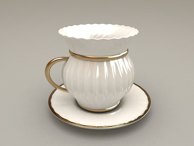Vintage Cup and Saucer Set 3d rendering