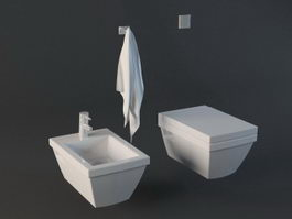 Toilet and Bidet Set 3d preview