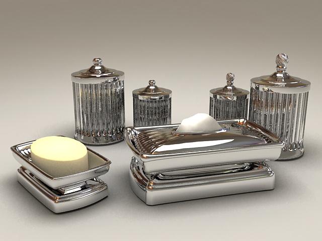 Silver Bathroom Accessory Set 3d rendering