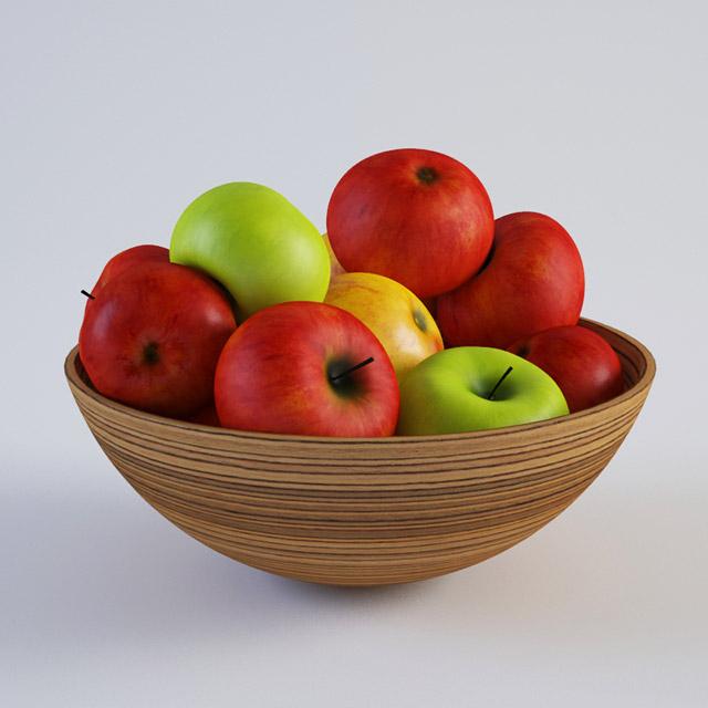 Apple and Vase 3d rendering