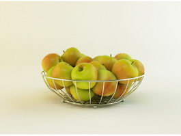 Apples with Wire Basket 3d preview