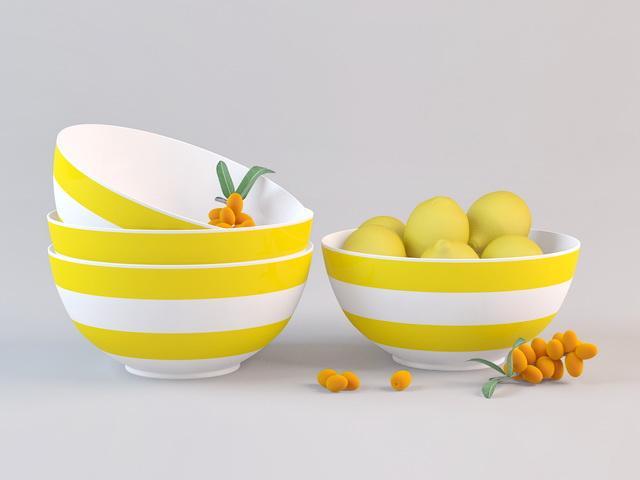 Fruits in Bowl 3d rendering