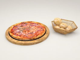 Pizza and Breads 3d model preview