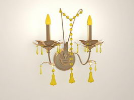 Vintage Brass and Crystal Wall Sconce 3d preview