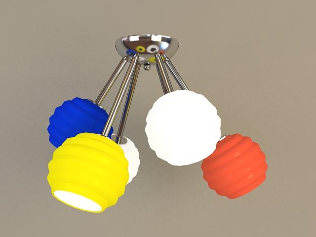 Colored Globe Pendant Light 3d rendering