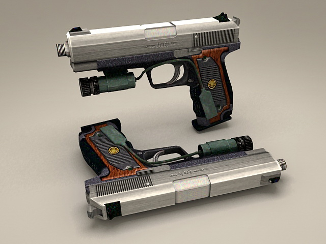 Pistol with Laser Sight 3d rendering