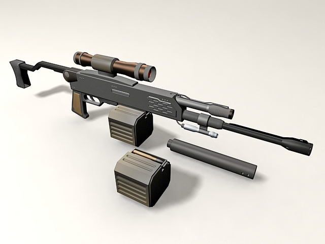 Barrett M98B with Cartridge and Scope 3d rendering