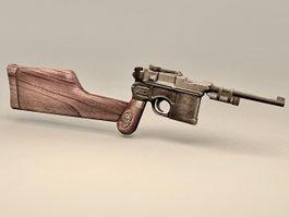 Vintage Pistol with Gun Stock 3d model preview