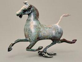 Vintage Bronze Horse Statue 3d model preview