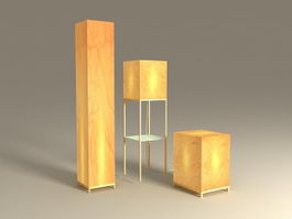 Square Paper Shade Floor Lamp 3d preview