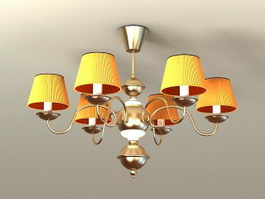 Brass Chandelier with Shades 3d preview