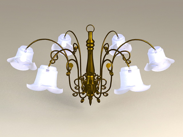 Brass and Crystal Flower Chandelier 3d rendering