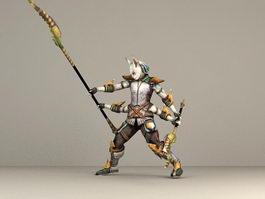 Fantasy Cat Warrior 3d model preview