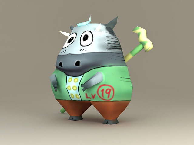 Anime Cow Character 3d rendering