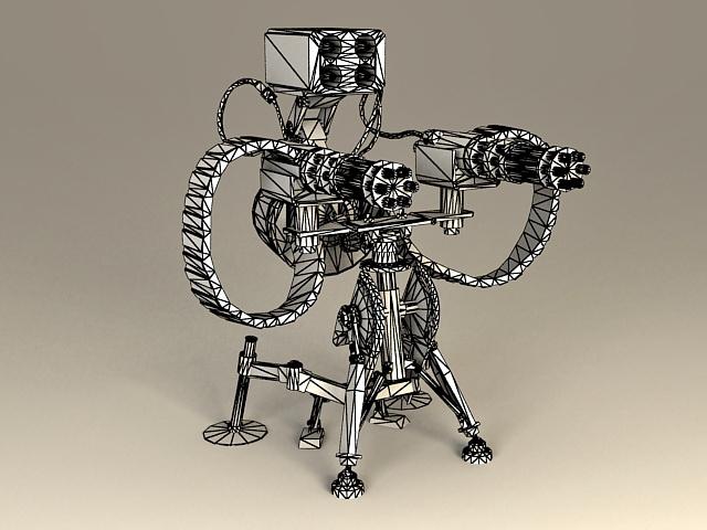 Sentry Gun 3d rendering