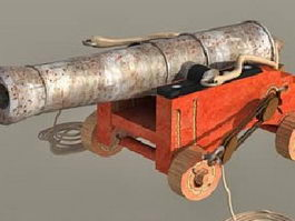 Antique Ship Cannon with Carriage 3d model preview