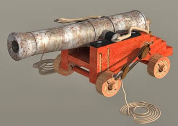 Antique Ship Cannon with Carriage 3d rendering