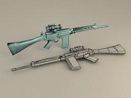 FN FAL Battle Rifle 3d model preview