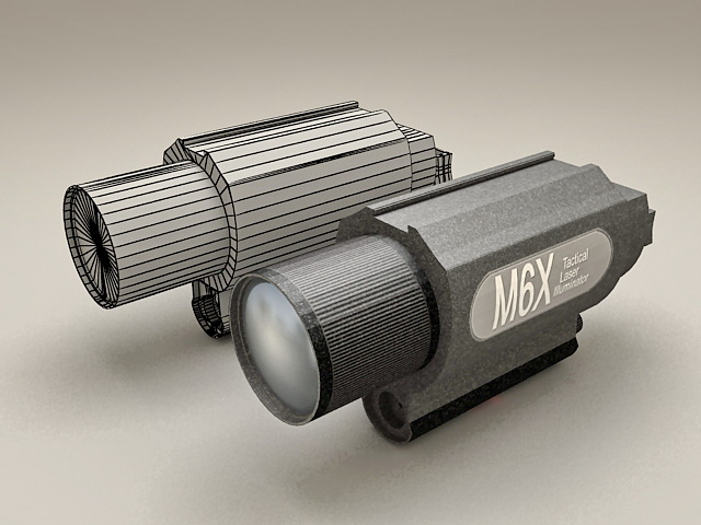 Tactical Laser Illuminator 3d rendering