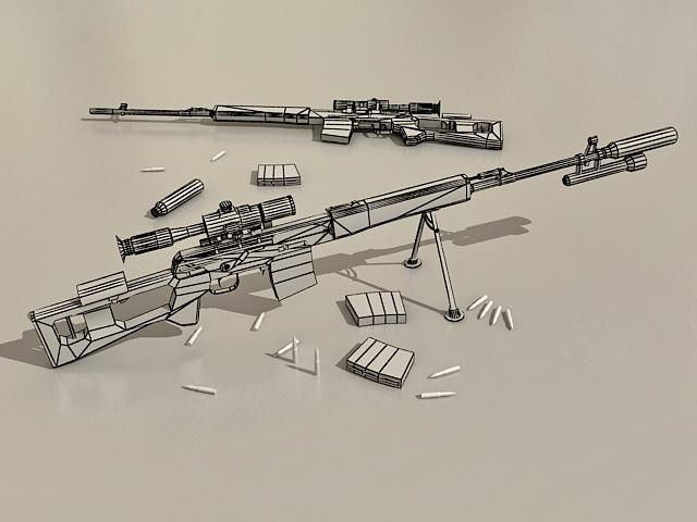 SVD Sniper Rifle 3d rendering