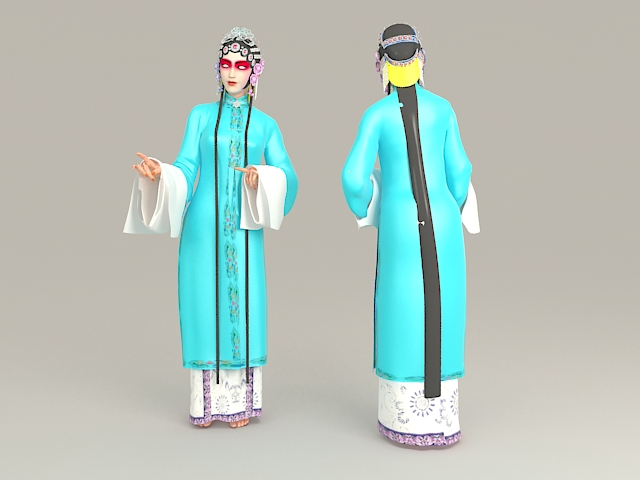 Female Role in Chinese Opera 3d rendering