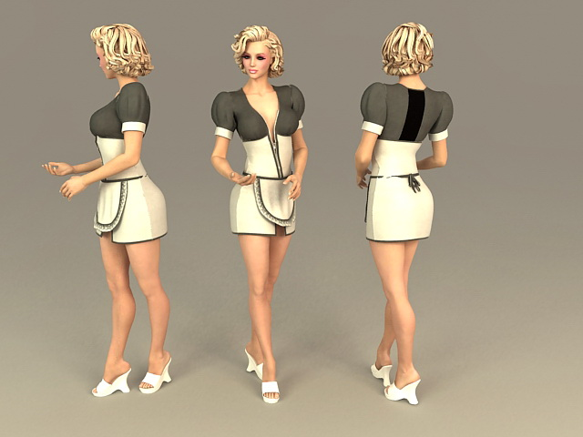 Office Lady Maid 3d rendering