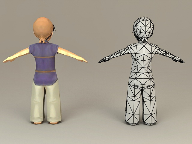 Traditional Korean Boy 3d model 3ds Max files free