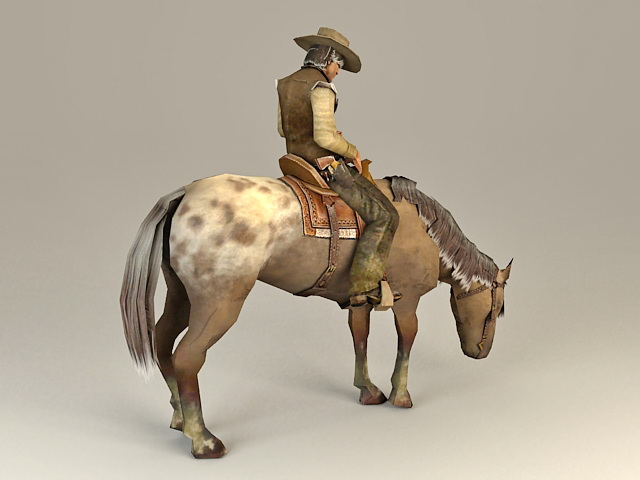 Cowboy Riding Horse 3d rendering
