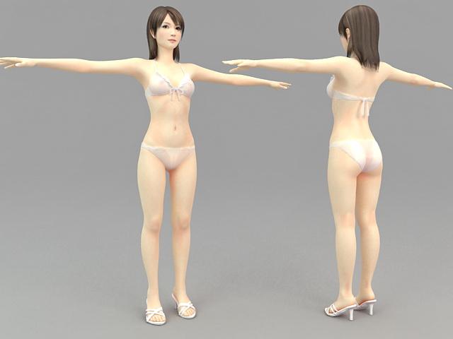 Asian Girl with Bikini 3d rendering