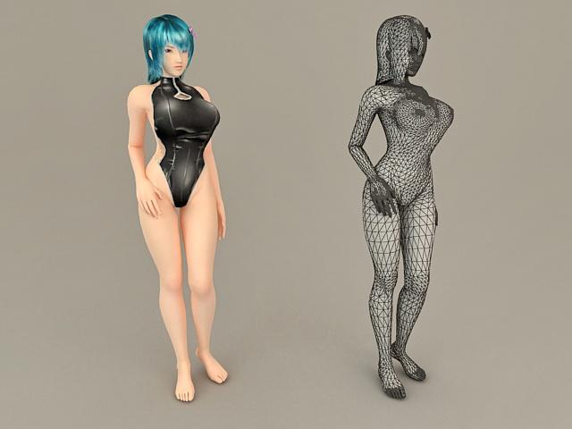 Scene Girl with Swimwear 3d rendering