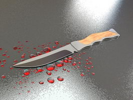 Knife with Blood 3d preview