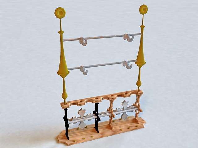 Medieval Weapon Rack 3d rendering