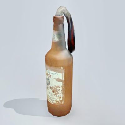 Molotov Cocktail Bottle Bomb 3d rendering