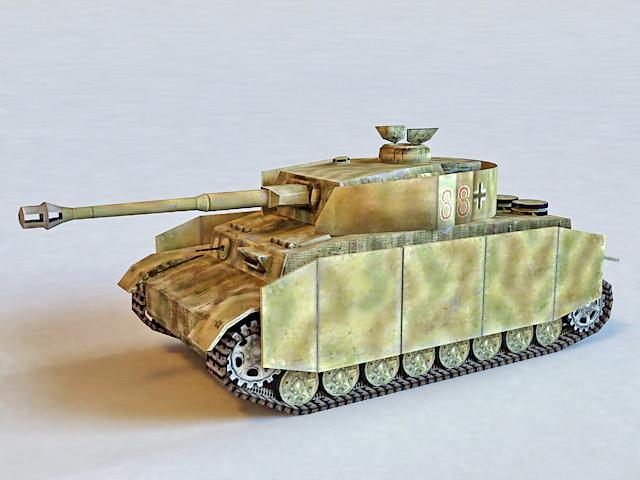Panzer IV Ausf H German Tank 3d rendering