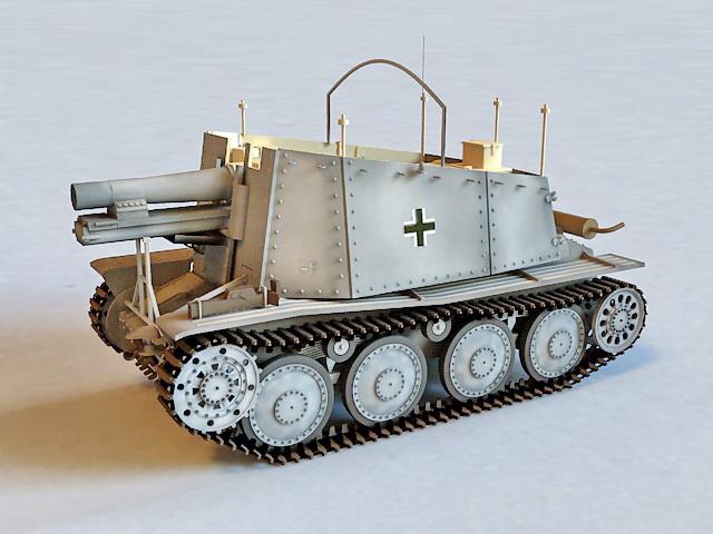 German Grille Artillery 3d rendering