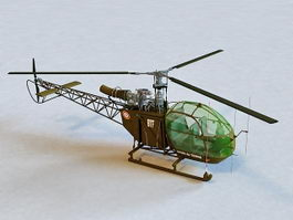 Alouette II Helicopter 3d model preview