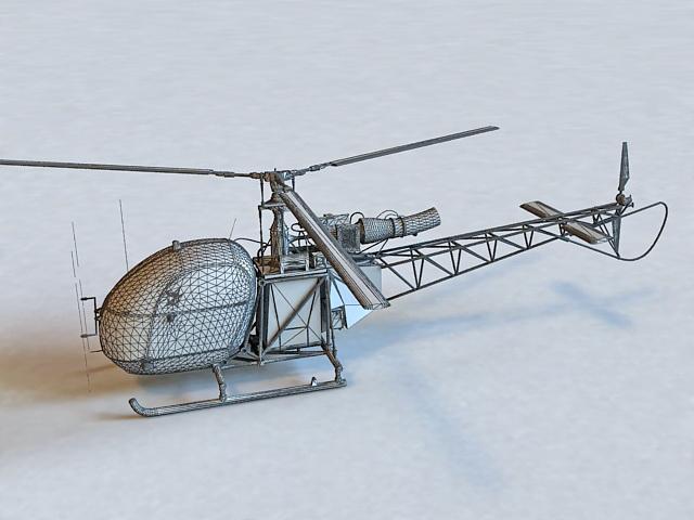 Alouette II Helicopter 3d rendering