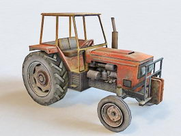 Farm Tractor Low Poly 3d preview