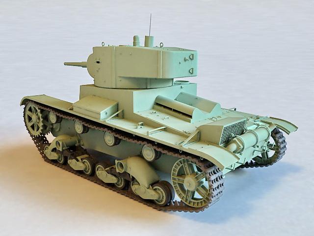 Soviet T26 Tank 3d rendering