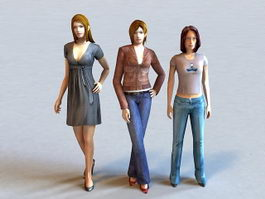 Beautiful Group of Three Women 3d model preview