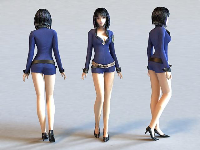 Anime Chibi Girl Warrior 3d model 3ds Max files free