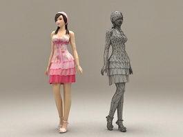 Cute Preppy Girl 3d model preview