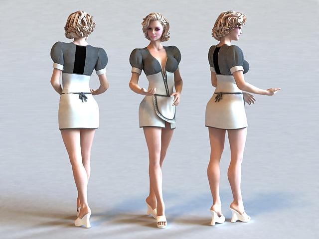Blonde Maid 3d rendering
