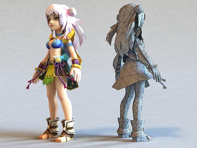 RPG Female Adventurer 3d model 3ds Max,Autodesk FBX,Object