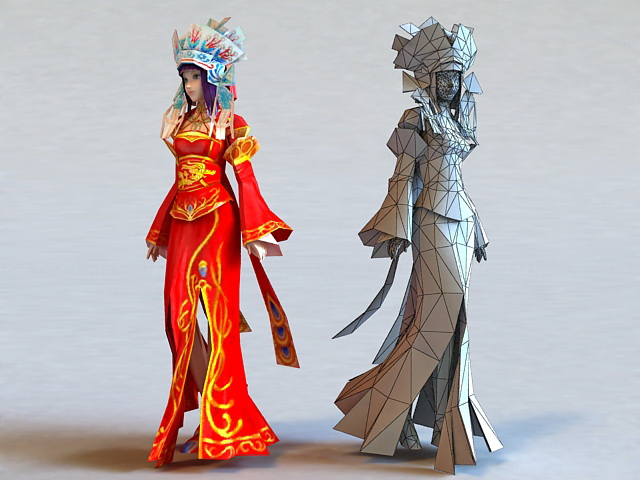 Ancient China Bride 3d rendering